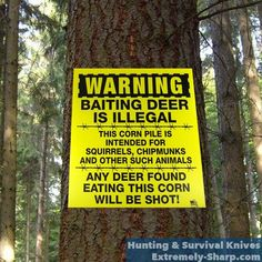 Deer Humor | Hunting knives | Baiting is Illegal, any deer eating this corn will be shot |  www.extremely-sharp.com/
