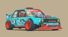 Cars As Characters: The Art Of Damon Moran - Speedhunters Car Design Sketch, Car Sketch, Car Illustration, Illustrations, Cool Car Drawings, Street Racing Cars, Auto Racing, Cars Characters, Drifting Cars