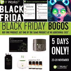 Oh. Em. Gee 🙊  Black Friday came early! 🎉  💥Buy one box of wraps ➡Get a box FREE! 💥Buy one bottle of Formula FF➡Get a FREE bottle! 💥Buy one bottle of Hair Skin Nails ➡Get a FREE bottle!  And last but DEFINITELY not least... 💥Buy one essential oil kit (comes with diffuser) ➡Get a whole set FREE!  Message me now to get these amazing deals before we run out 226-979-7230 txt Kelly or call ♫ Sia