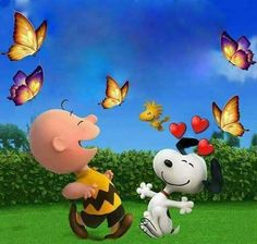 Snoopy, Woodstock, and Charlie Brown Dancing With the Butterflies