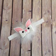 Easter headband, bunny headband, spring headband, rabbit headband, child headband, feather headband, hard headband