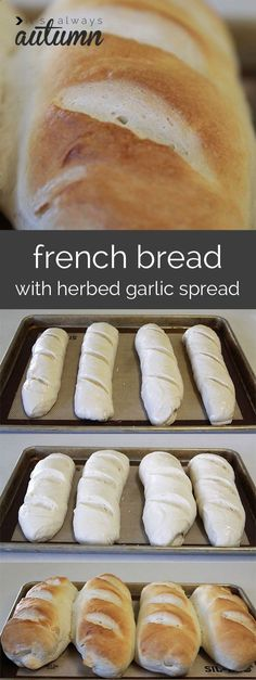 how to make homemade french bread + herb garlic spread recipe the best homemade french bread recipe step by step photo directions so it's easy to make. Plus there's an herbed garlic spread that's to die for! I Love Food, Good Food, Yummy Food, Bread Recipes, Baking Recipes, Garlic Recipes, Egg Recipes, Homemade French Bread, Herbs