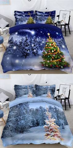 CHRISTMAS HUSKY DOG PUPPIES SLEIGH SNOW TREES WHITE BEIGE KING SIZE DUVET COVER
