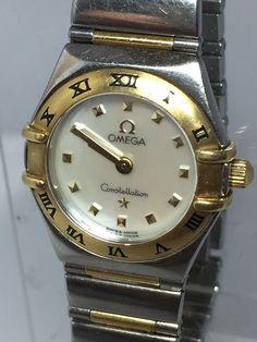 Ladies 18K SS Omega Constellation MOP Diamond Dial Small Wrist Size N279 | eBay