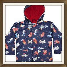 2d6740f8844a4 Powell craft boys raincoat in navy robot design available online from  Loobylou's. Showerproof and fully towelling lined in vintage style print,  ...