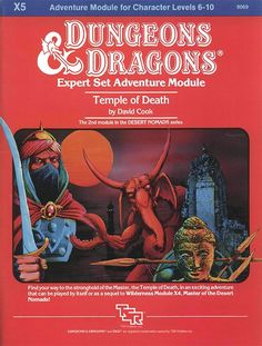 X5 Temple of Death (Basic)   Book cover and interior art for Dungeons and Dragons Basic and Expert Editions - Dungeons & Dragons, D&D, DND, Basic, Expert, 1st Edition, 1st Ed., 1.0, 1E, OSRIC, OSR, Roleplaying Game, Role Playing Game, RPG, Wizards of the Coast, WotC, TSR Inc.   Create your own roleplaying game books w/ RPG Bard: www.rpgbard.com   Not Trusty Sword art: click artwork for source