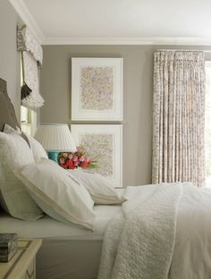 White bedding with gray walls, curtains and Roman shades of same ikat print | Lindsey Coral Harper