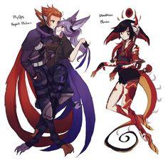 Xayah And Rakan, Lol League Of Legends, Blood Moon, Fan Art, Cartoon, Manga, Illustration, Cute, Anime