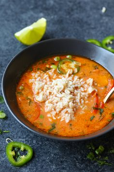 This Spicy Thai Coconut Curry Soup (Vegan!) is the perfect weeknight meal. It is packed with veggies, healthy fats, and a ton of flavor! It's ready in 30-minutes and is great for meal-prep throughout the week.