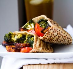 Lunch idea: roasted veggies inside a pita with hummus or pesto or some awesome dressing