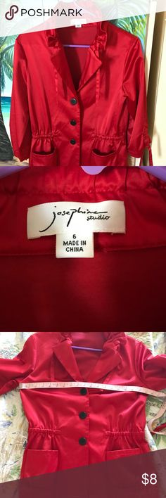 Red Satin Jacket ❤️👄 Pretty Rich Red satin jacket buttons up the front. Cute little details, Bought to go with the Lip dress!:)💄💋👄 Bundle!:) josephine Studio Jackets & Coats