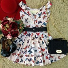 Vestido PRINCESA  Cibele NEOPRENE C/ BOJO (Estampa BORBOLETAS)