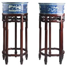 Chinese Porcelain Planters circa 1900 Rosewood Original Pedestals | From a unique collection of antique and modern porcelain at https://www.1stdibs.com/furniture/dining-entertaining/porcelain/