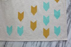 Chevron Dish Towel Turquoise and Ochre by HollyMuellerHome on Etsy