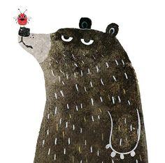 Cute bear and bug friendship illustration. Art And Illustration, Character Illustration, Animal Drawings, Art Drawings, Posca Art, Bear Art, Cute Art, Painting & Drawing, Illustrators