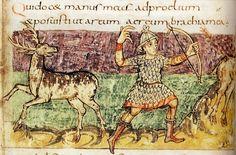 Deer hunting.Stuttgarter Psalter, (c.820-30) Wuttemburg State Library  (Cod. bibl. fol. 23) p.45