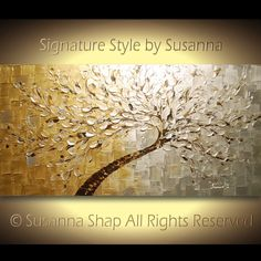NEW ORIGINAL Abstract White Silver Gold Tree by ModernHouseArt on Etsy  #art #painting #gold #tree #abstract #new #susanna #abstract art #original art