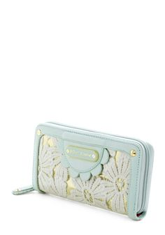 Of COURSE with the matching wallet. Betsey Johnson Having a Field Daisy Wallet by Betsey Johnson - Floral, Scallops, Mint, Pastel