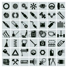 Illustration about Car parts, tools and accessories. Set of vector icons. Illustration of piston, petrol, vintage - 47476471 Vector Icons, Vector Art, Car Vector, Car Tattoos, Free Cars, Banner Printing, Car Parts, Icon Design, Illustration