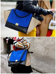 Celine trapeze tricolor in sand with cobalt blue suede flap
