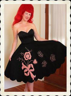 DARLING 1950's Inky Black Wool Felt Circle by butchwaxvintage, $135.00
