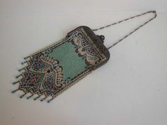 1920s purse / Vintage 20's Mandalian Rug Pattern Enamel Mesh Purse Great Frame