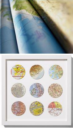 Originales cuadros reciclando y utilizando mapas - decoratualma.blogspot.com