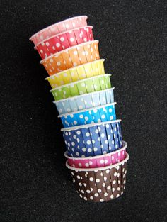 Candy Cups in Rainbow Polka Dots 25 by CupcakeSocial on Etsy, $5.00