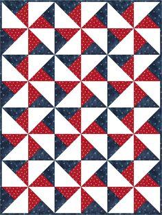 Americana Pinwheel Patriotic Pre-Cut Quilt Blocks Kit