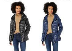 JESSICA SIMPSON New Packable Nylon Jacket M L 3X Indigo Blue Black Puffer #JessicaSimpson #PackableJacket #Casual