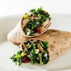 Kale and Mushroom Wrap (Giada & Health). Ingredients: oil, shallot, leek, mushrooms, s and p, kale, broth, dried cranberries, goat cheese (sub pecans), multigrain wraps. Heat in skillet, ad broth and berries.