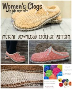 802d7900c9c7 Love these rustic women s clogs with just rope soles crochet pattern! Can t  wait