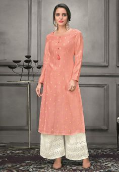 Buy Peach Silk Readymade Kameez With Palazzo 175288 online at lowest price from huge collection of salwar kameez at Indianclothstore.com.