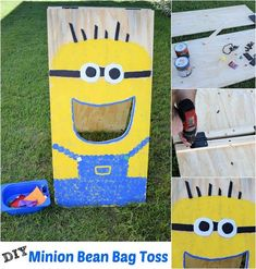 Make this easy DIY Minion bean bag toss game for your next outdoor party. It's great for year-round fun outdoors!