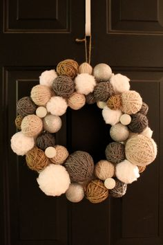 yarn Ball For Cats - Handmade Winter Yarn Ball Wreath Holiday Wreath Yarn Wreath Door Hanging Door Decor Home Decor Wall Hanging Christmas Wreath. Wreath Crafts, Diy Wreath, Yarn Crafts, Diy Crafts, Twine Wreath, Fabric Wreath, Holiday Wreaths, Holiday Crafts, Christmas Crafts