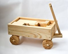 Hand Crafted Wood Toy Wagon with Blocks by CarvingsAndWoodwork, $75.00