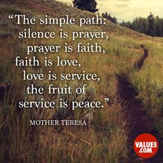 An inspiring quote by Mother Teresa about #peace #passiton www.values.com