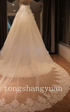 Handmade Cathedral Length Bridal Wedding Veil Lace Sequins White/Ivory + Comb