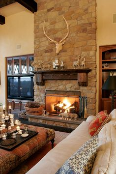 Rustic Family Room With Stone Fireplace | Plan 011S 0088 | House Plans And  More