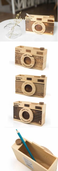 Wooden Camera Shaped Pen Holder. Great for the office or as a gift for the photographer in your life.