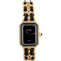 Pre-owned Chanel Vintage Premiere Watch featuring polyvore, fashion, jewelry, watches, chanel, acc, necklaces, black, black jewelry, pre owned watches, kohl jewelry, preowned jewelry and black watches