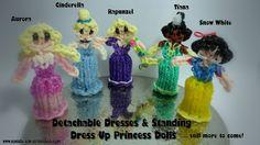 Rainbow Loom - Princess Series - Detachable & Standing Up 3D Skirts - Princesses using a single Rainbow Loom
