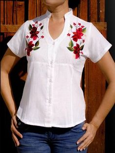 This Yucatecan blouse is the women's guayabera style with colorful hand embroidered flowers. The design is simple with a modern cut. Kurta Designs, Blouse Designs, Embroidered Blouse, Embroidered Flowers, White Peasant Blouse, Mexican Fashion, Sewing Blouses, Embroidery Fashion, Blouse Styles