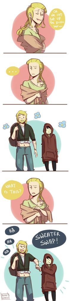 Sweater Swap by blargberries on deviantART. AWWWH!!! LOOK AT LOKI IN HIS BIG COMPHY SWEATER!!! :D