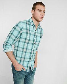 plaid double weave shirt
