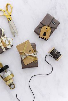 Christmas wrapping with small envelopes.