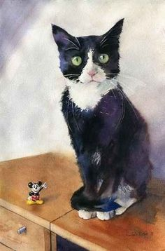 Tuxedo Black Cat & Mickey by Rachel Parker - Baby Ruth and Lizzie Cat, a Norwegian Black and White :-)