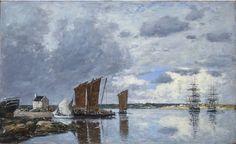 """""""Bateaux de pêche au Passage de Plougastel"""",  by Eugène Boudin"""