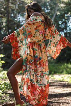 Spell Delilah patchwork maxi kimono