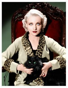 Carole Lombard with a gorgeous black cat http://www.pinterest.com/pin/320107485987193629/